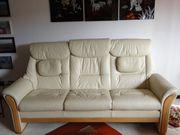 Sehr gut erhaltene Leder-Couchgarnitur