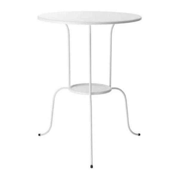 Toller Ikea Beistelltisch Lindved Rund Weiss Metall Top Zustand