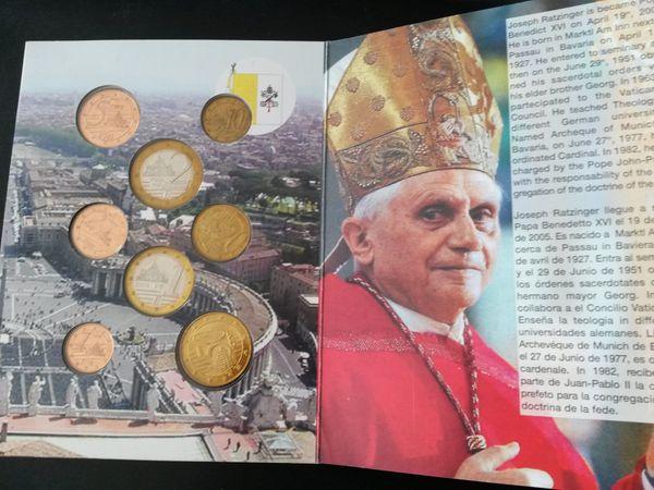 Vatikan Euro Probeprägungsatz Vom Papst Benedikt Xvi Im Blister In