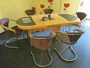 Besprechungs- Esstisch Kulissen-Tisch oval Armlehnstühle