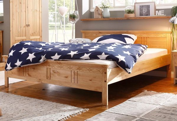 Neu Bett 180x200 Massiv Holz Home Affaire Bettgestell Doppelbett In