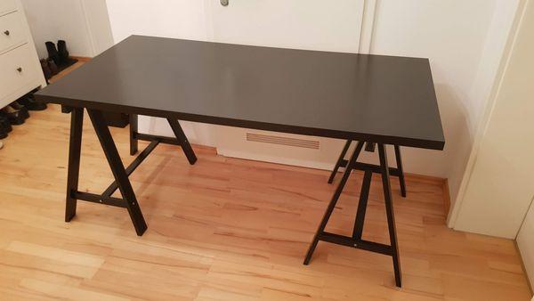 Schreibtisch Schwarz Ikea Oddvald Und Platte Linnmon In München