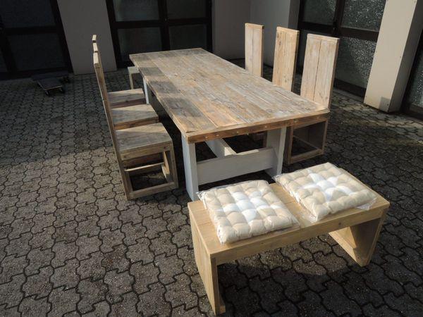 Gartenmöbel aus Bauholz, Tisch, 6Stühle, 2 Bänke, Gartensitzgruppe ...