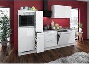 Küche Hochglanz Weiß mit E-Geräten