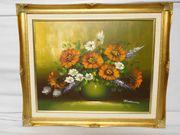Ölbild - Stilleben Blumen-Vase
