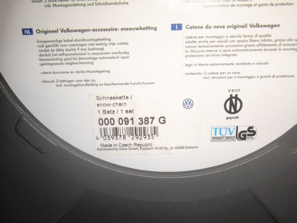 Schneeketten VW Original Zubehör Ketten Snox - Karlsruhe Palmbach - 1 Satz (2 Stück) Schneeketten VW Original Zubehör Snox, gut erhalten mit Betriebsanleitung und Tragetasche. - Karlsruhe Palmbach