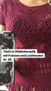 Shirt in Wildlederoptik mit Fransen