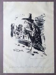 Lithographie Villon von Hans Fronius