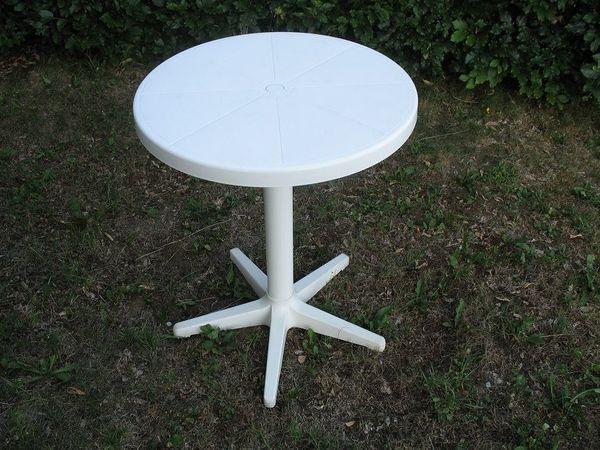 Gartentisch Runde Tischplatte D 65cm H 80cm Weisser Sehr Stabiler