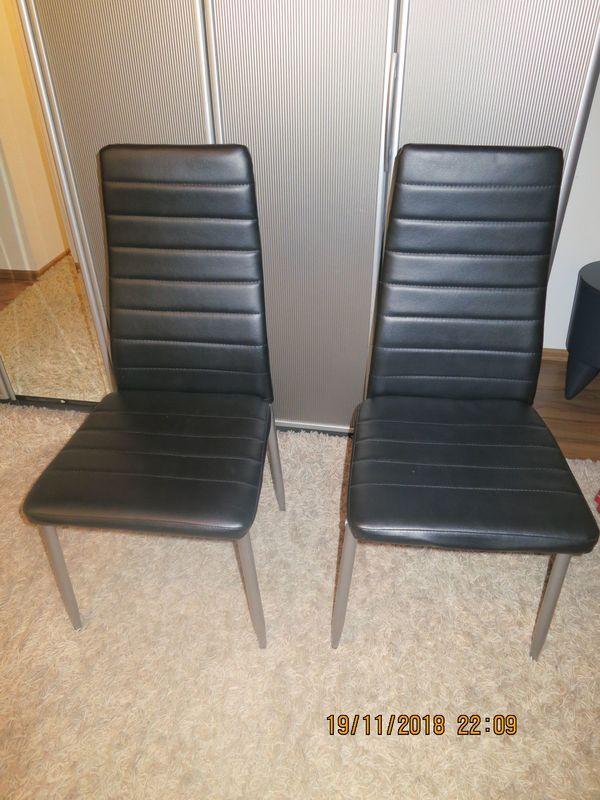 2 Lederstühle schwarz / Küchen bzw. Esszimmer Stühle in Rastatt ...