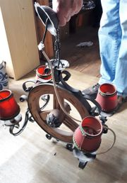 alte schmiede eiserne Lampe - Holzlampe -