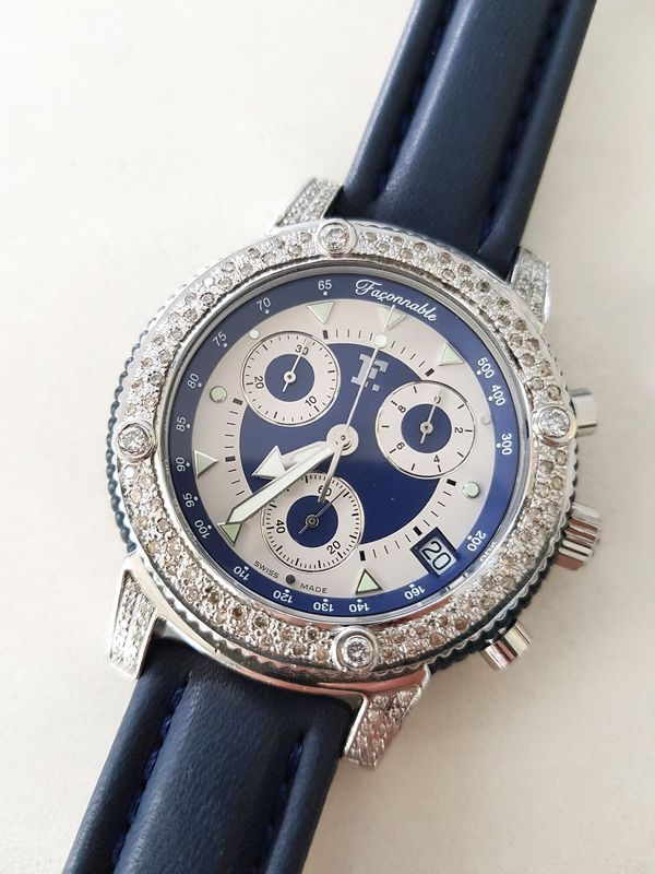 Uhr Chronograph Faconnable Diamanten Unisex Watch In Schorndorf