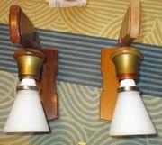 2 Wandlampen Holz Rustikal Landhaus 70 80 er Jahre weisses Glas Romantisch, gebraucht gebraucht kaufen  Buxheim