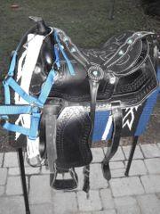 Schwarzer Westernsattel für Pony 13