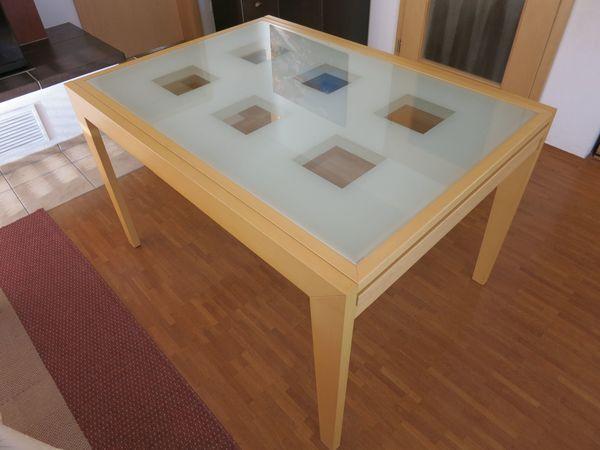 Esstisch Ahorn Natur 123 X 90 Cm Mit Glasplatte Ausziehbar Auf 246 X