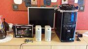 HP PC - Monitor - Boxen - Festplatte - Maus