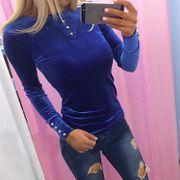 Samt Bluse in blau Gr