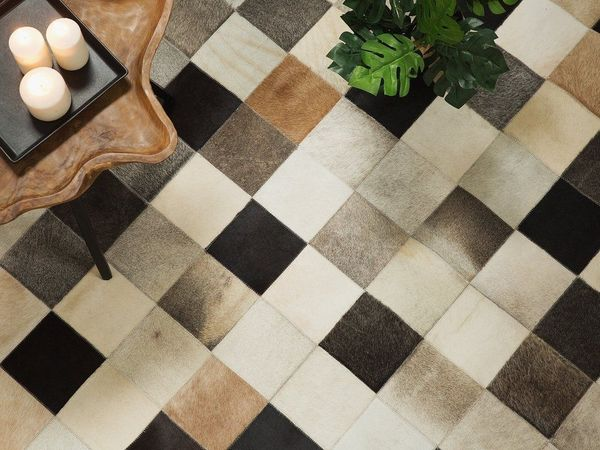 Teppich Braun Beige Grau 80 X 150 Cm Leder Soke Von Beliani In