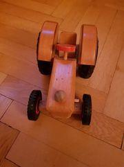 Holz Traktor mit Anhänger Walze