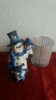 Schneemann Teelicht Advent Deko