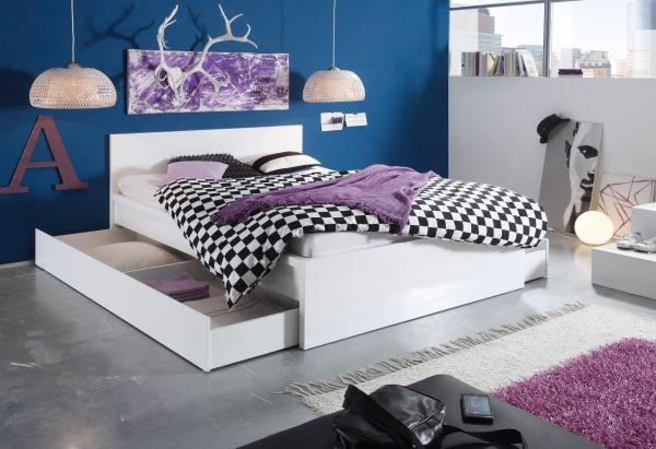 NEU 140x200 Stauraum-Bett 2x Schubkästen Funktionsbett Jugendbett on