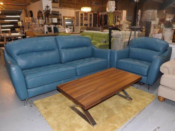 Beckton Blaugrünes Blaues Leder 3 Sitzer Sofa Und Kuschelstuhl In