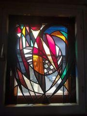 4 schöne alte Mosaikfenster 71