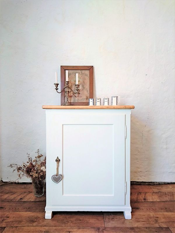 Zierlicher Halbschrank ANTIK SHABBY-White Kommode Bauernschrank ...