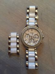 DKNY Armbanduhr Ceramic weiß silber