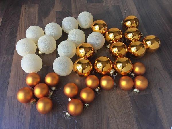 Glas Kugeln Christbaumschmuck Set Baumschmuck Gold Orange Hygge In