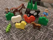Holzeisenbahn Bäume Tiere Figuren