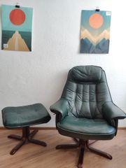 Leder Sessel mit Hocker