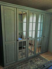 Massivholz Schlafzimmer Fichte blau komplett