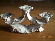 dreiarmiger Porzellan Kerzerhalter