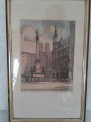 Original-Radierung München von Paul Schwertner