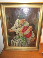 Altes Ölbild Tanzendes Trachtenpaar