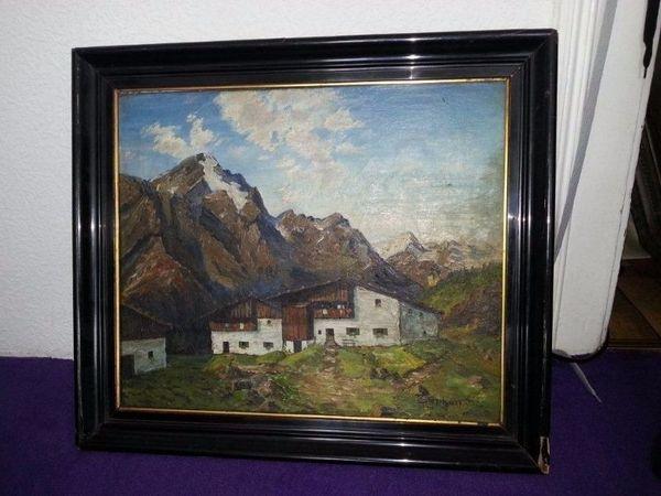 Berghütte schwarzer Ramen » Kunst, Gemälde, Plastik
