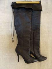 Pleaser - elegante Overknee Lederstiefel - schwarz -