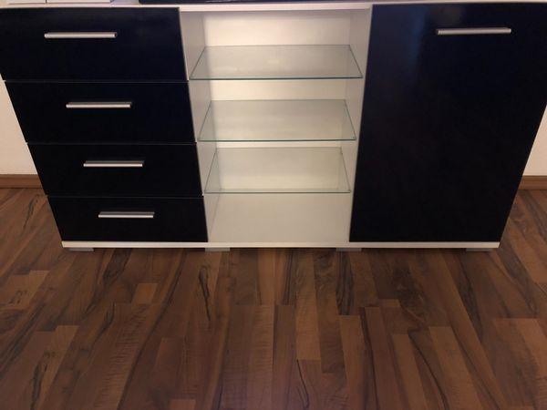 Sideboard Weiß-Schwarz » Wohnzimmerschränke, Anbauwände