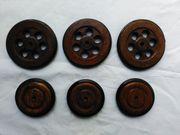 Holzräder 6 Stück mit Gummibereifung