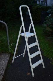 Haushaltsleiter 4 Stufen weiß Metall