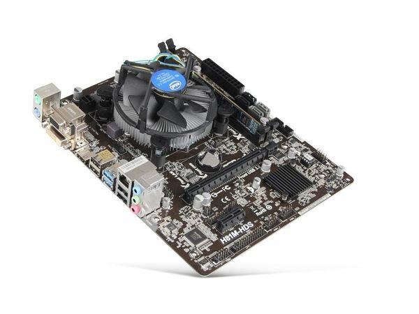 Mainboard Bundle Intel Haswell + 4GB RAM - NEUWERTIG - Munster - Neuwertiges Computer-Aufrüstkit mit leistungsstarken Komponenten**Rechnungsdatum 27.10.2017**Technische Daten:CPU: Intel Core G3260, Dual-Core, 2x 3,3 GHz, 3 MB Cache, Sockel 1150Mainboard: ASROCK H81M-HDS, Sockel 1150, Micro-ATX (24/4-Pin)Chip - Munster